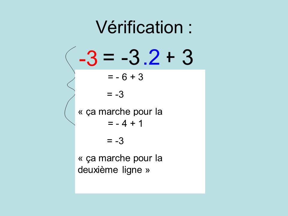 Vérification : y = -3x + 3 y = -2x + 1 -3.2 -3 = - 6 + 3 = -3 « ça marche pour la première ligne » = - 4 + 1 = -3 « ça marche pour la deuxième ligne »
