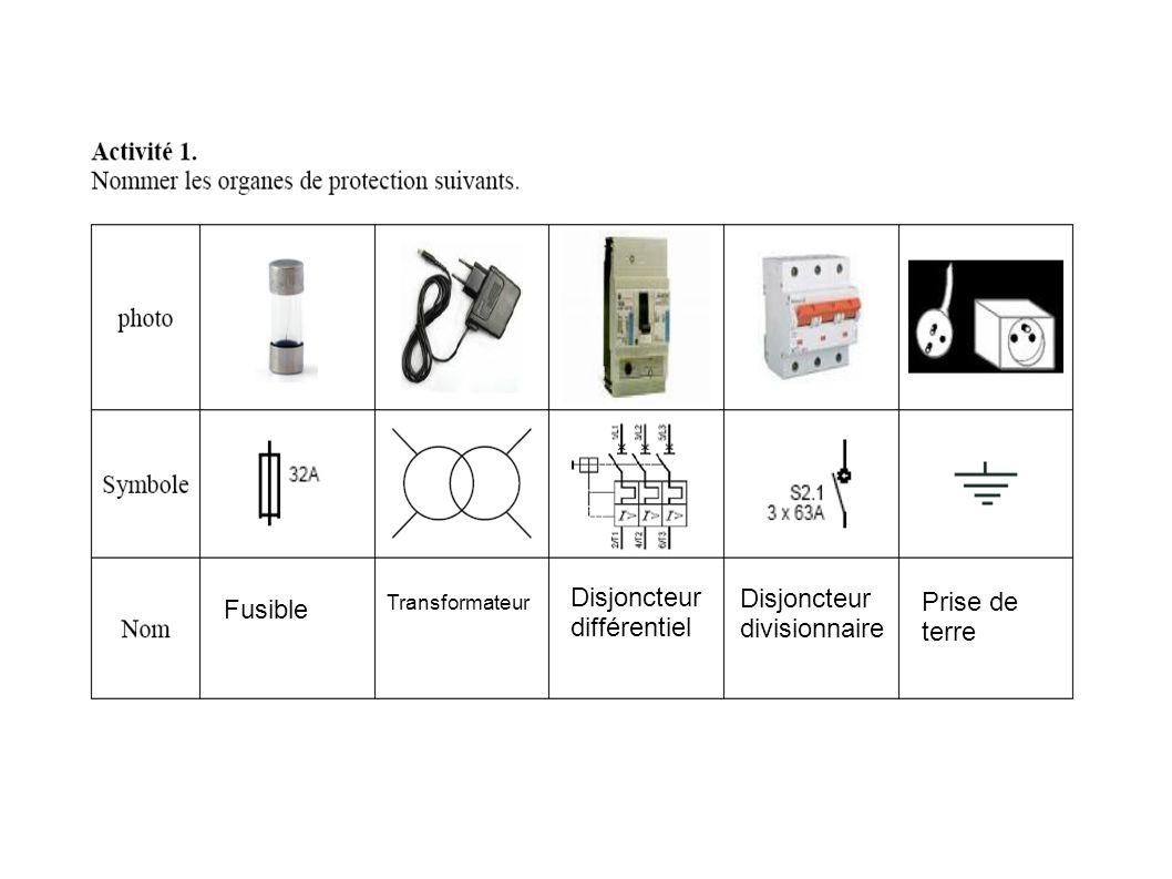 Fusible Transformateur Disjoncteur différentiel Disjoncteur divisionnaire Prise de terre