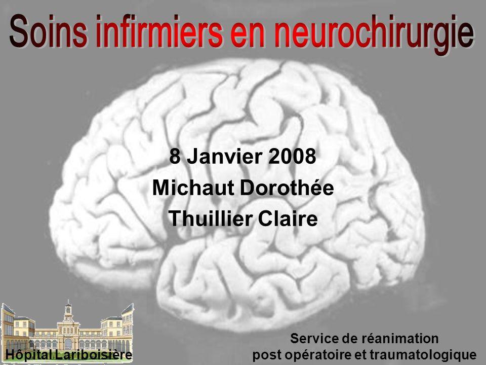 8 Janvier 2008 Michaut Dorothée Thuillier Claire Service de réanimation post opératoire et traumatologique Hôpital Lariboisière