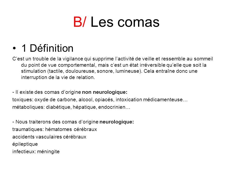 B/ Les comas 1 Définition Cest un trouble de la vigilance qui supprime lactivité de veille et ressemble au sommeil du point de vue comportemental, mai