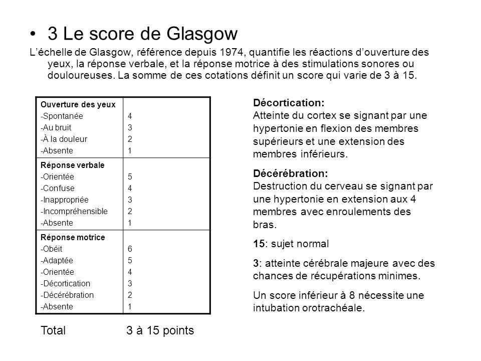 3 Le score de Glasgow Léchelle de Glasgow, référence depuis 1974, quantifie les réactions douverture des yeux, la réponse verbale, et la réponse motri