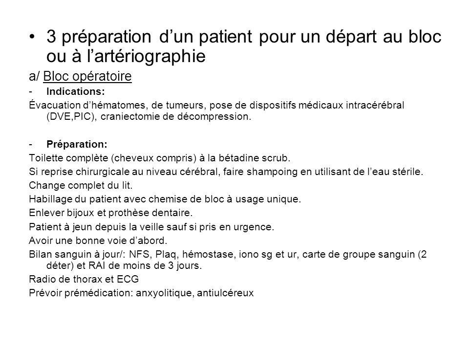 3 préparation dun patient pour un départ au bloc ou à lartériographie a/ Bloc opératoire -Indications: Évacuation dhématomes, de tumeurs, pose de disp