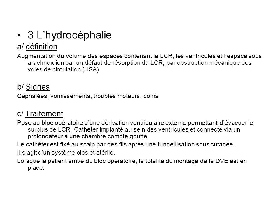 3 Lhydrocéphalie a/ définition Augmentation du volume des espaces contenant le LCR, les ventricules et lespace sous arachnoïdien par un défaut de réso