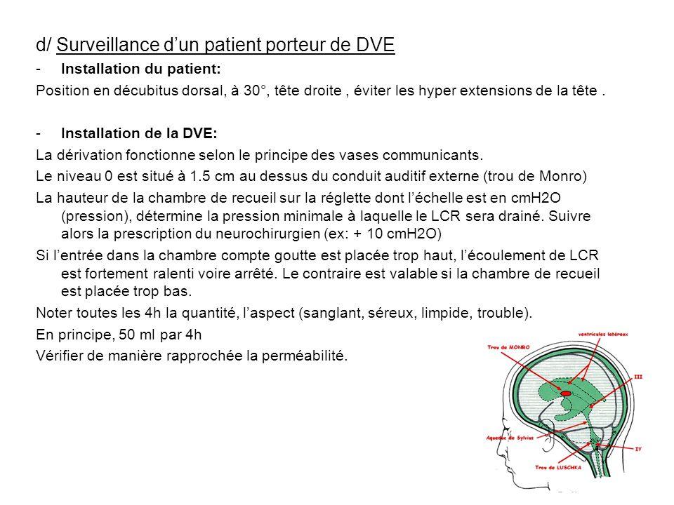 d/ Surveillance dun patient porteur de DVE -Installation du patient: Position en décubitus dorsal, à 30°, tête droite, éviter les hyper extensions de