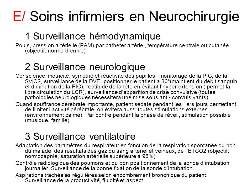 E/ Soins infirmiers en Neurochirurgie 1 Surveillance hémodynamique Pouls, pression artérielle (PAM) par cathéter artériel, température centrale ou cut