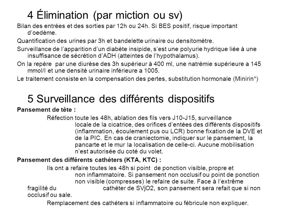 4 Élimination (par miction ou sv) Bilan des entrées et des sorties par 12h ou 24h. Si BES positif, risque important doedème. Quantification des urines