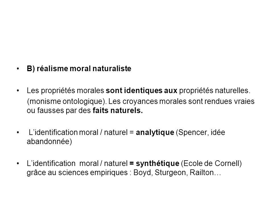B) réalisme moral naturaliste Les propriétés morales sont identiques aux propriétés naturelles. (monisme ontologique). Les croyances morales sont rend
