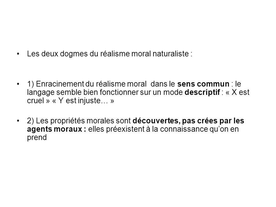 Les deux dogmes du réalisme moral naturaliste : 1) Enracinement du réalisme moral dans le sens commun : le langage semble bien fonctionner sur un mode