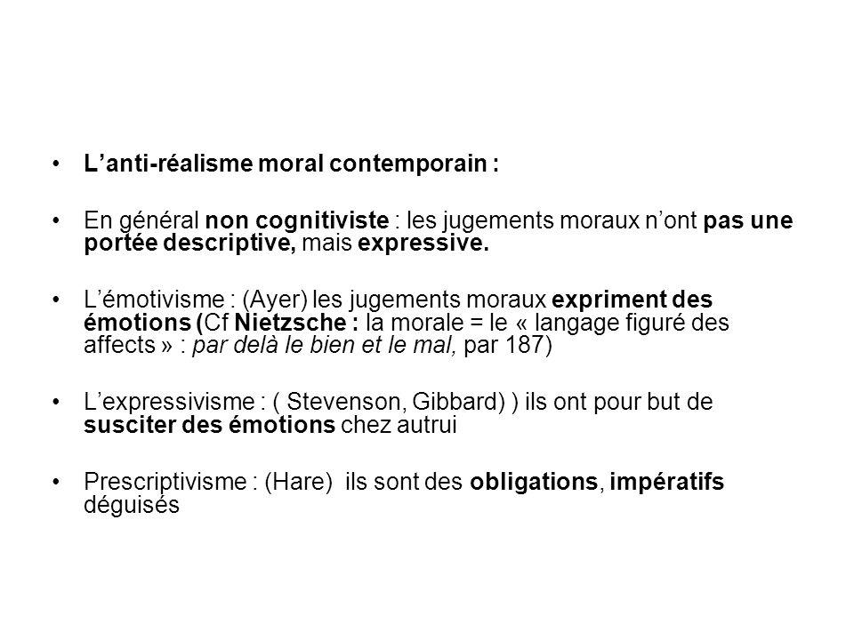 Lanti-réalisme moral contemporain : En général non cognitiviste : les jugements moraux nont pas une portée descriptive, mais expressive. Lémotivisme :