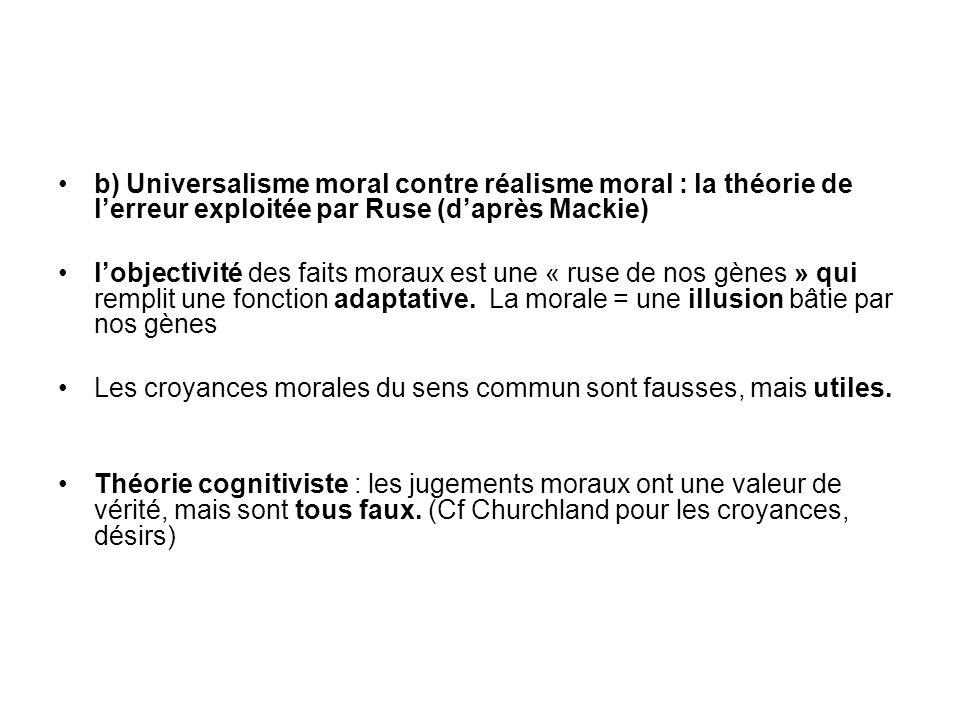 b) Universalisme moral contre réalisme moral : la théorie de lerreur exploitée par Ruse (daprès Mackie) lobjectivité des faits moraux est une « ruse d