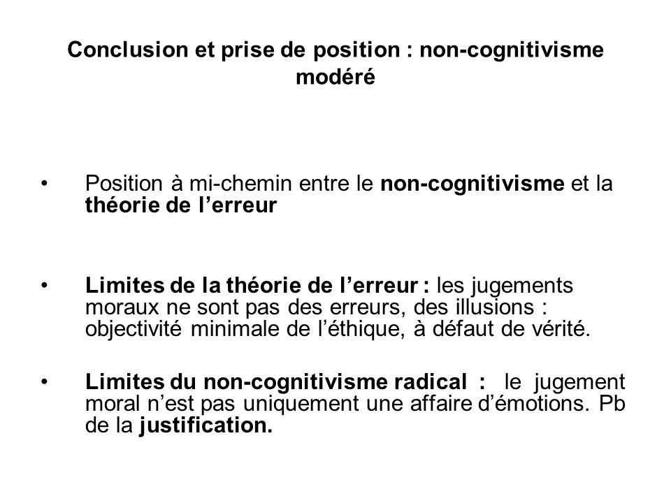 Conclusion et prise de position : non-cognitivisme modéré Position à mi-chemin entre le non-cognitivisme et la théorie de lerreur Limites de la théori