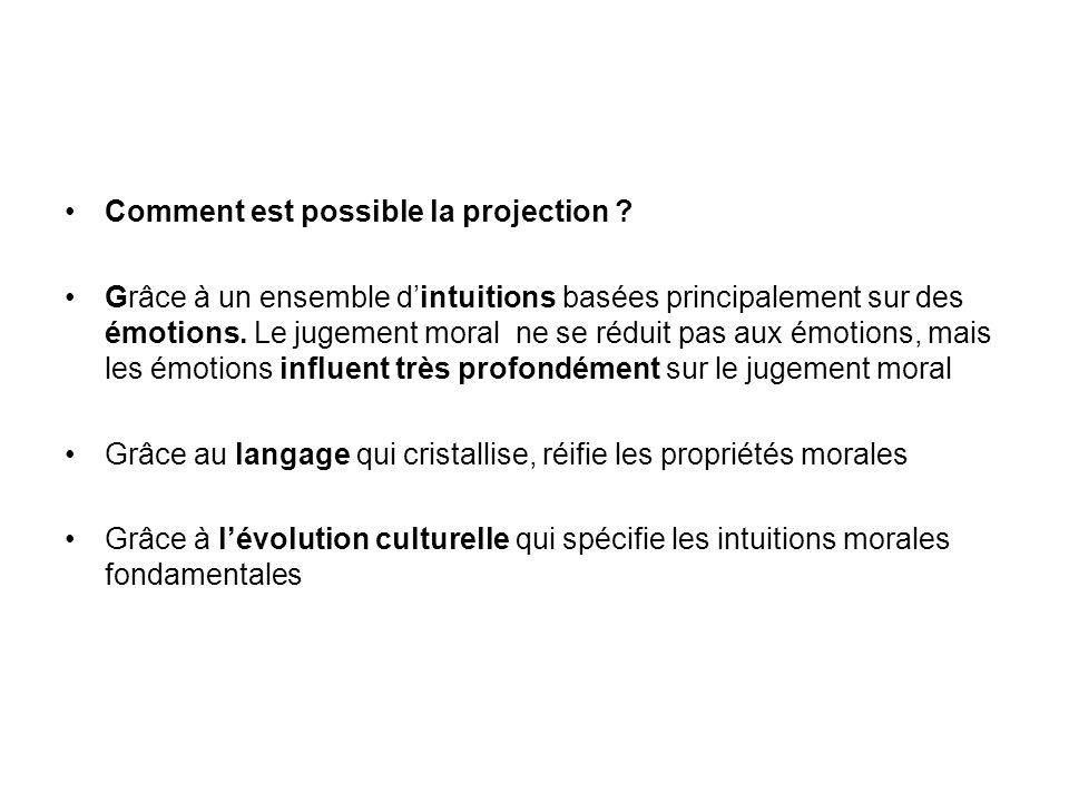 Comment est possible la projection ? Grâce à un ensemble dintuitions basées principalement sur des émotions. Le jugement moral ne se réduit pas aux ém