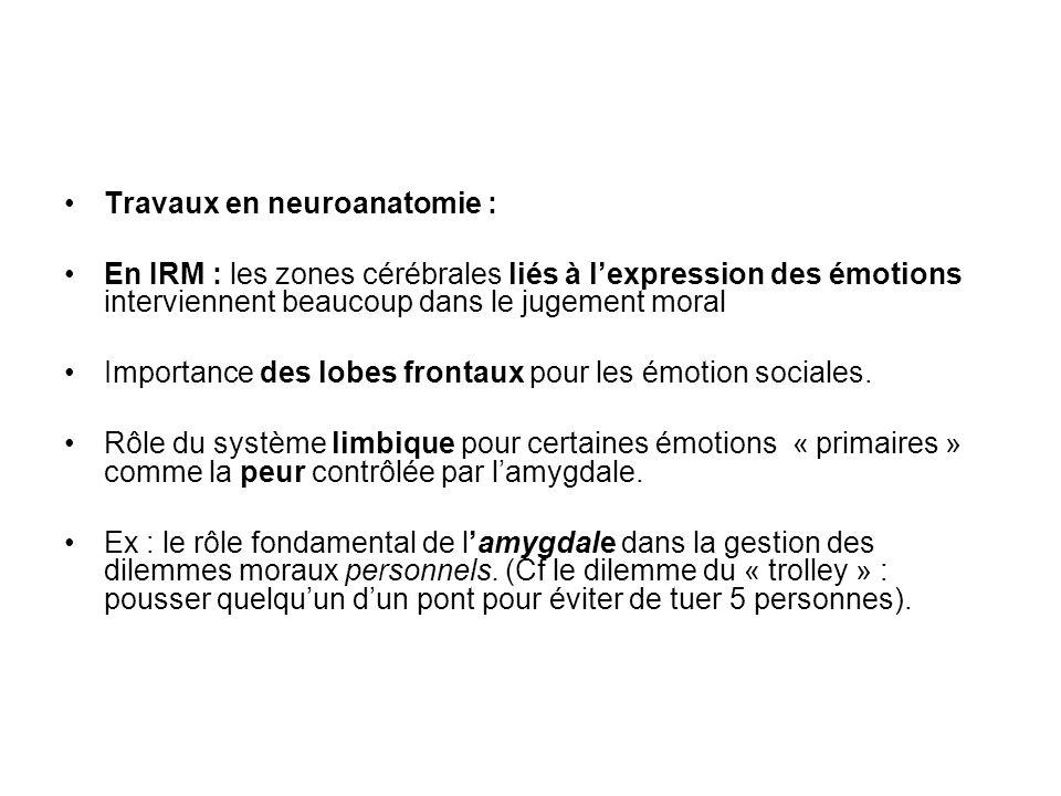 Travaux en neuroanatomie : En IRM : les zones cérébrales liés à lexpression des émotions interviennent beaucoup dans le jugement moral Importance des