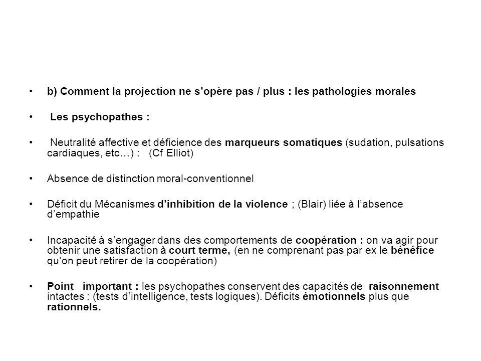 b) Comment la projection ne sopère pas / plus : les pathologies morales Les psychopathes : Neutralité affective et déficience des marqueurs somatiques