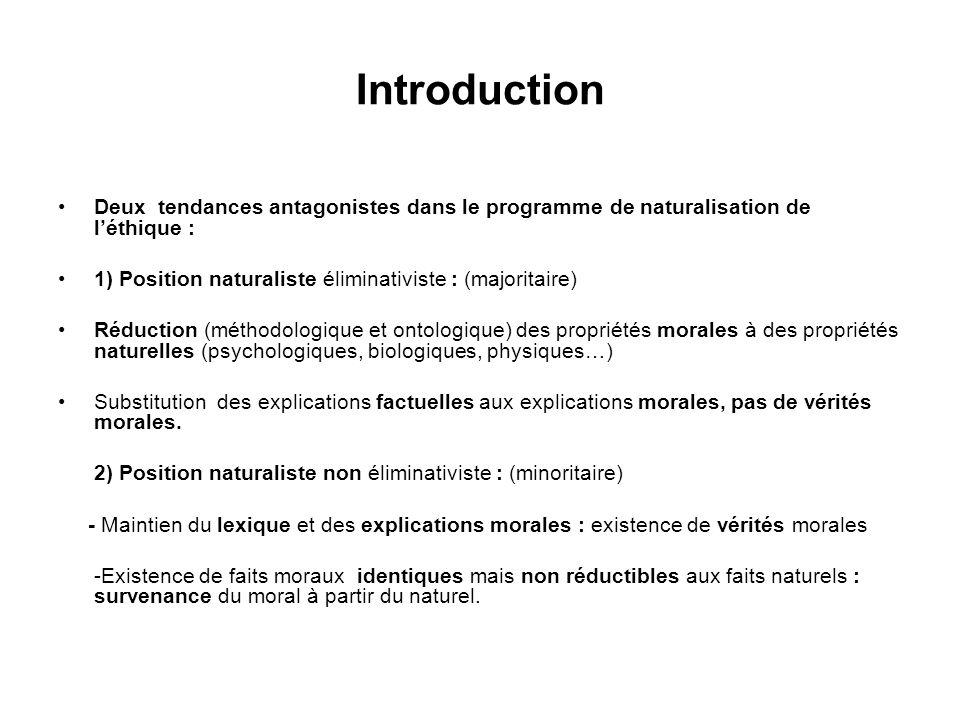 Introduction Deux tendances antagonistes dans le programme de naturalisation de léthique : 1) Position naturaliste éliminativiste : (majoritaire) Rédu