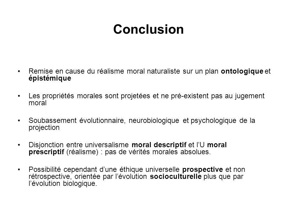 Conclusion Remise en cause du réalisme moral naturaliste sur un plan ontologique et épistémique Les propriétés morales sont projetées et ne pré-existe
