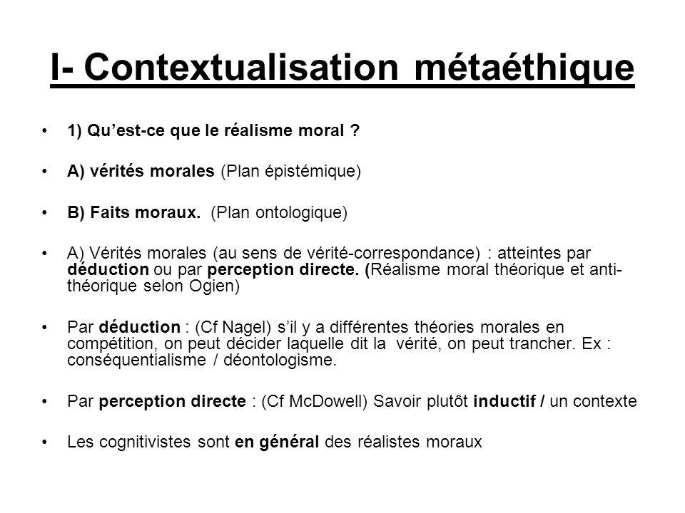 I- Contextualisation métaéthique 1) Quest-ce que le réalisme moral ? A) vérités morales (Plan épistémique) B) Faits moraux. (Plan ontologique) A) Véri