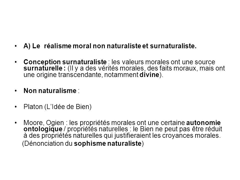 A) Le réalisme moral non naturaliste et surnaturaliste. Conception surnaturaliste : les valeurs morales ont une source surnaturelle : (Il y a des véri