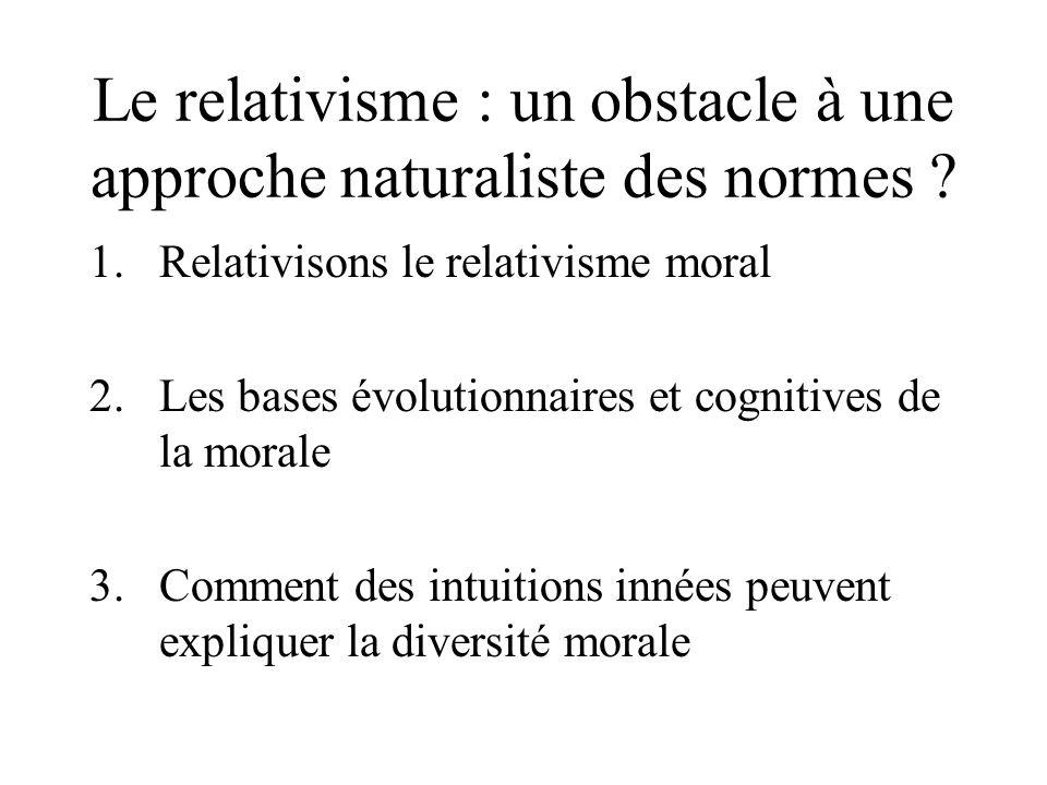 Le relativisme : un obstacle à une approche naturaliste des normes ? 1.Relativisons le relativisme moral 2.Les bases évolutionnaires et cognitives de