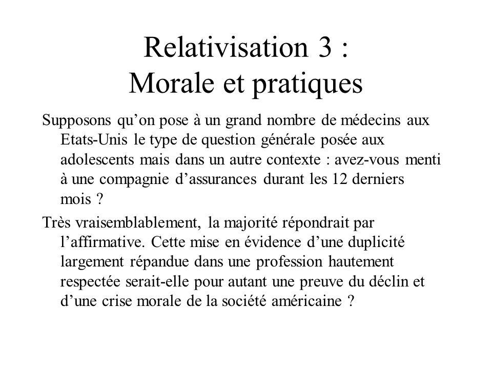 Relativisation 3 : Morale et pratiques Supposons quon pose à un grand nombre de médecins aux Etats-Unis le type de question générale posée aux adolesc