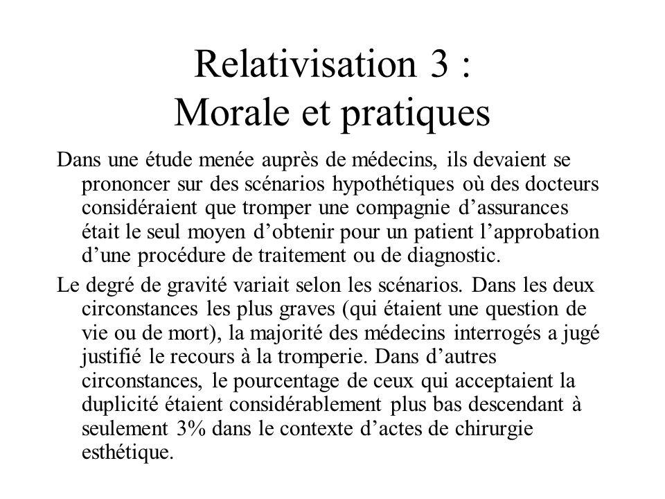 Relativisation 3 : Morale et pratiques Dans une étude menée auprès de médecins, ils devaient se prononcer sur des scénarios hypothétiques où des docte