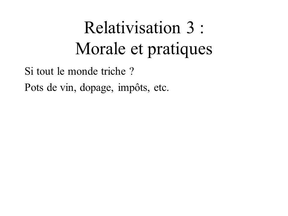 Relativisation 3 : Morale et pratiques Si tout le monde triche ? Pots de vin, dopage, impôts, etc.