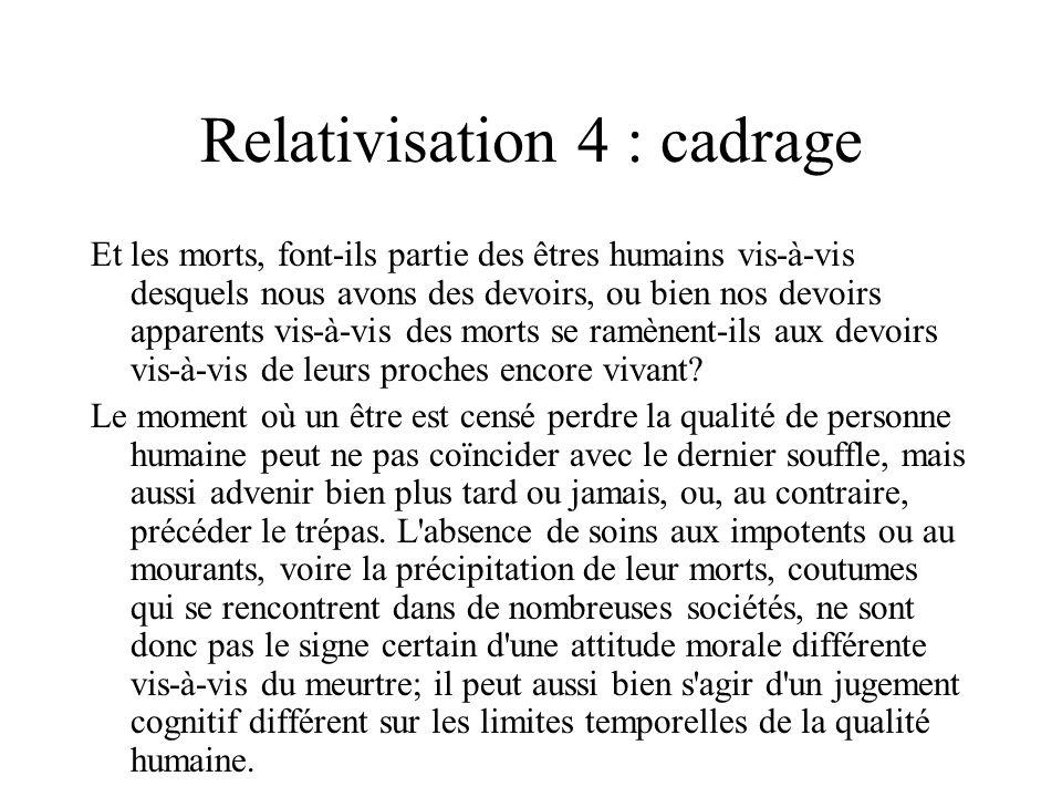 Relativisation 4 : cadrage Et les morts, font-ils partie des êtres humains vis-à-vis desquels nous avons des devoirs, ou bien nos devoirs apparents vi