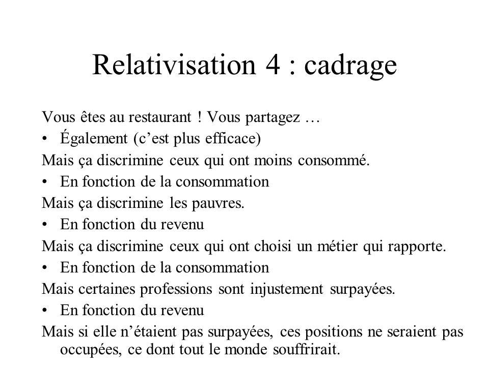 Relativisation 4 : cadrage Vous êtes au restaurant ! Vous partagez … Également (cest plus efficace) Mais ça discrimine ceux qui ont moins consommé. En