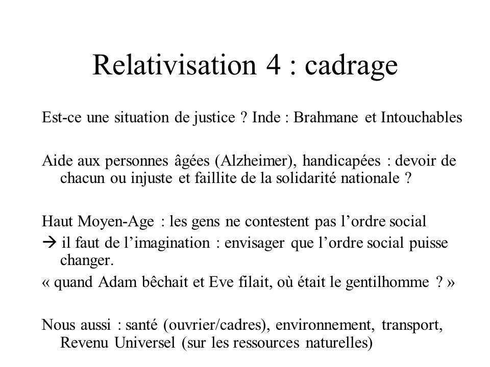 Relativisation 4 : cadrage Est-ce une situation de justice ? Inde : Brahmane et Intouchables Aide aux personnes âgées (Alzheimer), handicapées : devoi