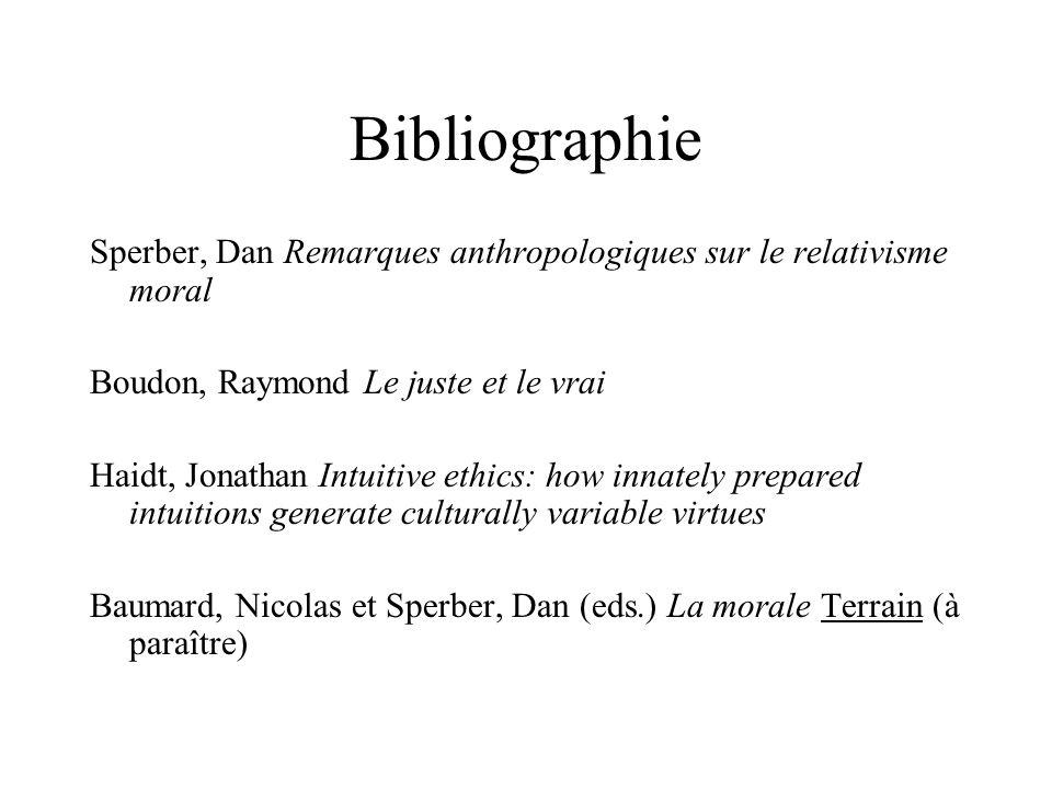 Bibliographie Sperber, Dan Remarques anthropologiques sur le relativisme moral Boudon, Raymond Le juste et le vrai Haidt, Jonathan Intuitive ethics: h