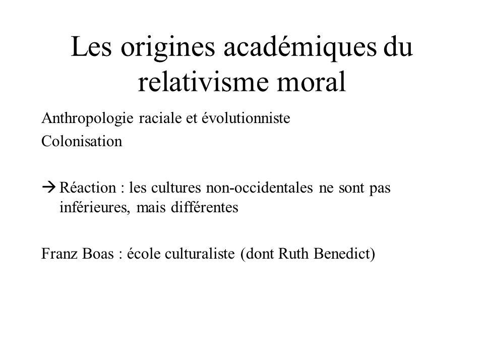 Les origines académiques du relativisme moral Anthropologie raciale et évolutionniste Colonisation Réaction : les cultures non-occidentales ne sont pa