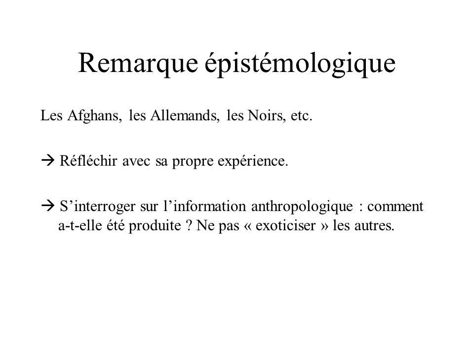 Remarque épistémologique Les Afghans, les Allemands, les Noirs, etc. Réfléchir avec sa propre expérience. Sinterroger sur linformation anthropologique