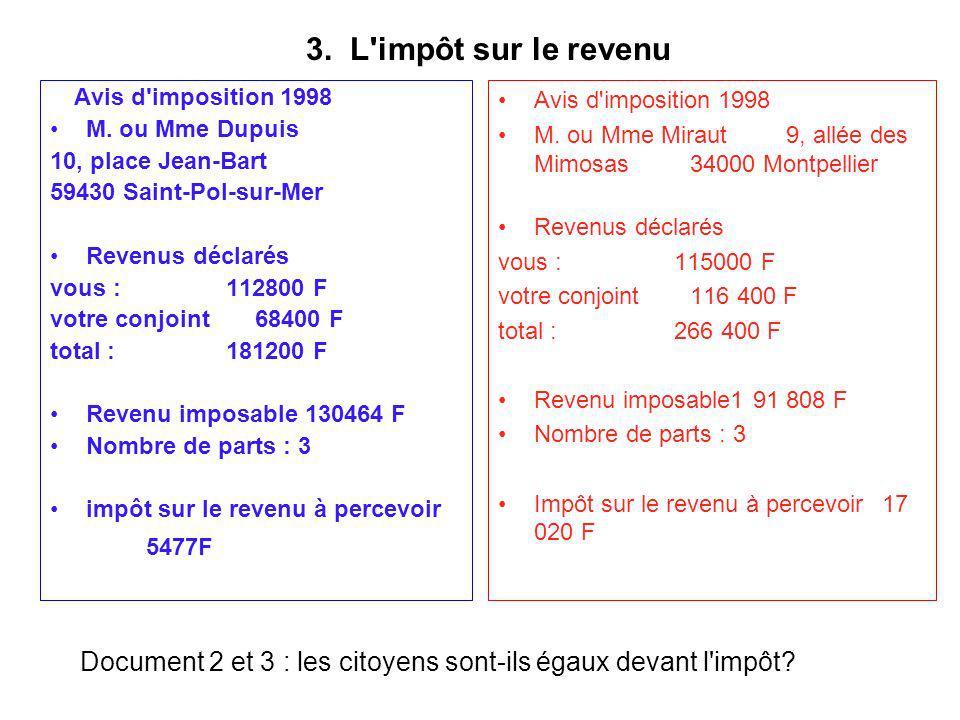 3. L'impôt sur le revenu Avis d'imposition 1998 M. ou Mme Dupuis 10, place Jean-Bart 59430 Saint-Pol-sur-Mer Revenus déclarés vous : 112800 F votre co
