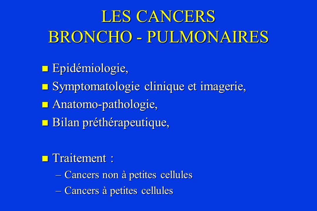 ANATOMO-PATHOLOGIE Cancers non à petites cellules CBNPC Cancers non à petites cellules CBNPC –Cancers épidermoïdes, –Adénocarcinomes, –Cancers indifférenciés à grandes cellules.
