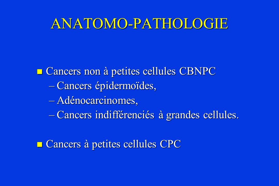 ANATOMO-PATHOLOGIE Cancers non à petites cellules CBNPC Cancers non à petites cellules CBNPC –Cancers épidermoïdes, –Adénocarcinomes, –Cancers indiffé