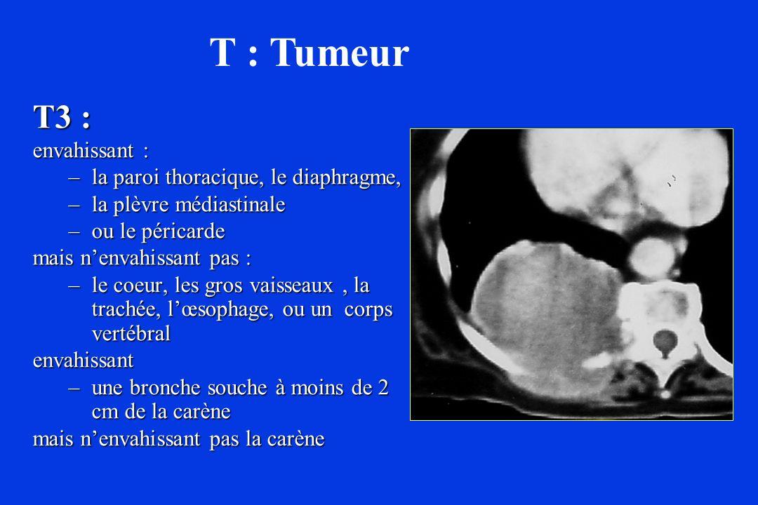 T3 : envahissant : –la paroi thoracique, le diaphragme, –la plèvre médiastinale –ou le péricarde mais nenvahissant pas : –le coeur, les gros vaisseaux