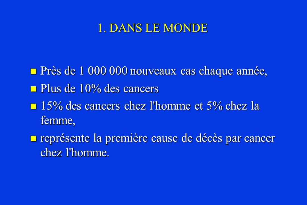 Près de 1 000 000 nouveaux cas chaque année, Près de 1 000 000 nouveaux cas chaque année, Plus de 10% des cancers Plus de 10% des cancers 15% des canc