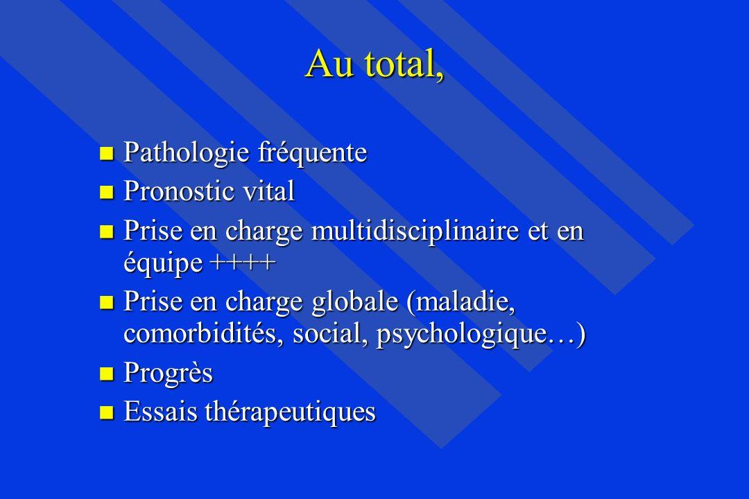 Au total, Pathologie fréquente Pathologie fréquente Pronostic vital Pronostic vital Prise en charge multidisciplinaire et en équipe ++++ Prise en char