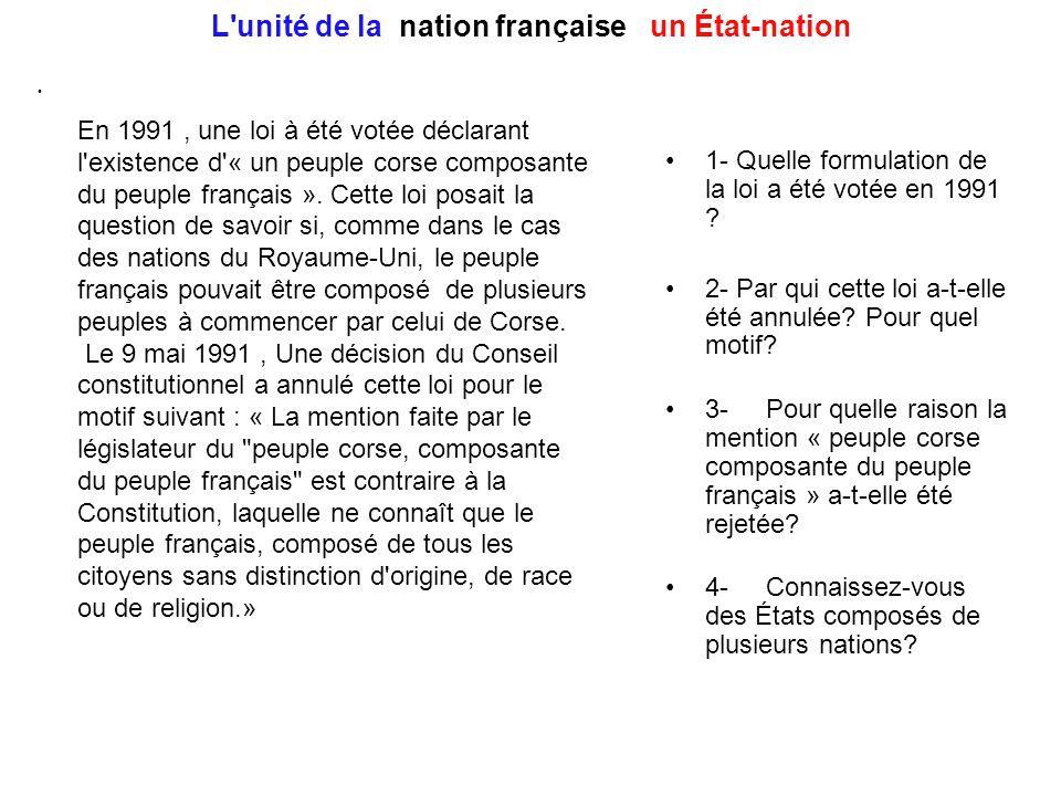 L'unité de la nation française : un État-nation En 1991, une loi à été votée déclarant l'existence d'« un peuple corse composante du peuple français »