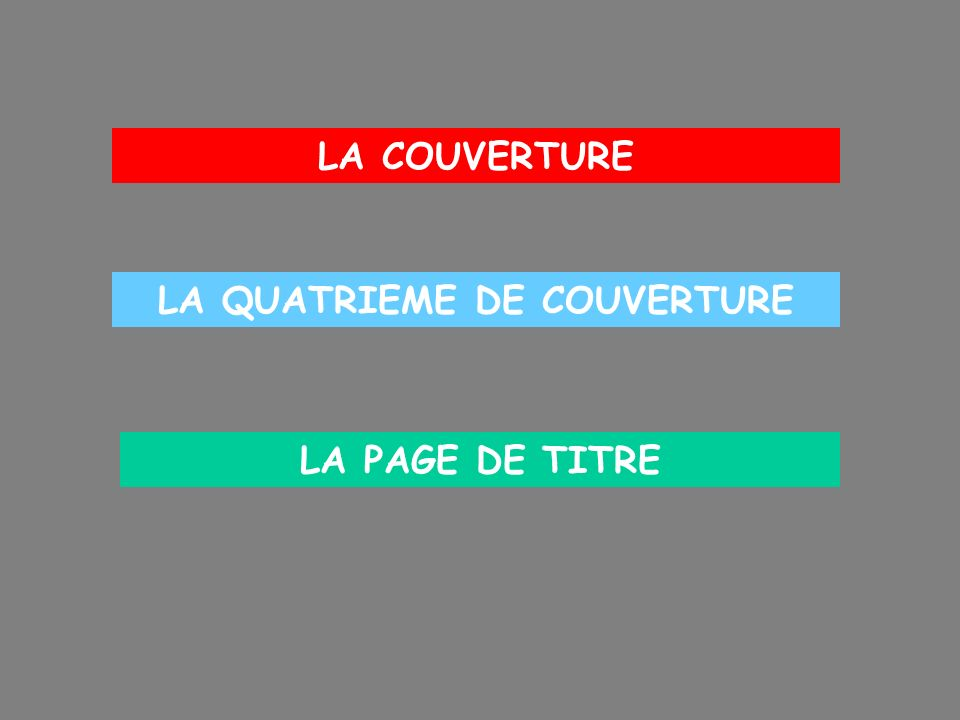 LA COUVERTURE Le titre Lauteur Léditeur La cote La collection