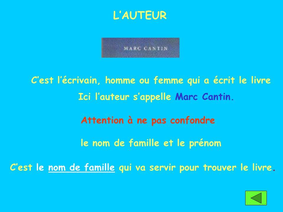 LAUTEUR Cest lécrivain, homme ou femme qui a écrit le livre Ici lauteur sappelle Marc Cantin.