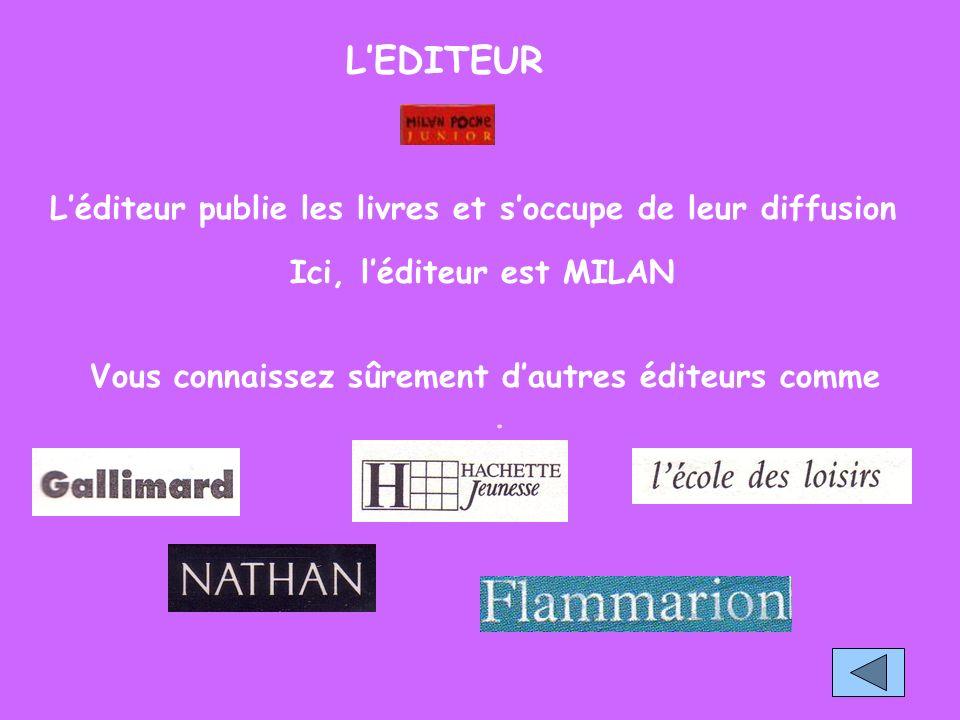 LEDITEUR Léditeur publie les livres et soccupe de leur diffusion Ici, léditeur est MILAN.