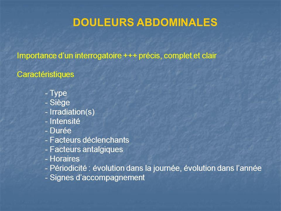 REFLUX GASTRO-OESOPHAGIEN Pyrosis Douleur - à type de brûlure - de siège épigastrique - à irradiation rétrosternale ascendante et traçante - dhoraire habituellement post-prandial - déclenchée par changements de position +++ décubitus antéflexion (signe du laçet) Manifestations plus frustres - Brûlures de siège épigastrique ou rétrosternal - Brûlures rétrosternales ou thoraciques sans pyrosis vrai - Association à douleurs de striction modérée, à des éructations… … mais leur caractère postural permet dévoquer le RGO