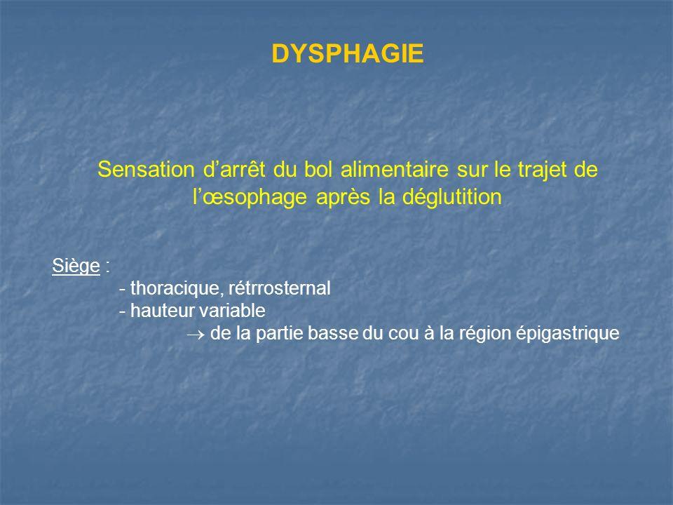 DYSPHAGIE Sensation darrêt du bol alimentaire sur le trajet de lœsophage après la déglutition Siège : - thoracique, rétrrosternal - hauteur variable d