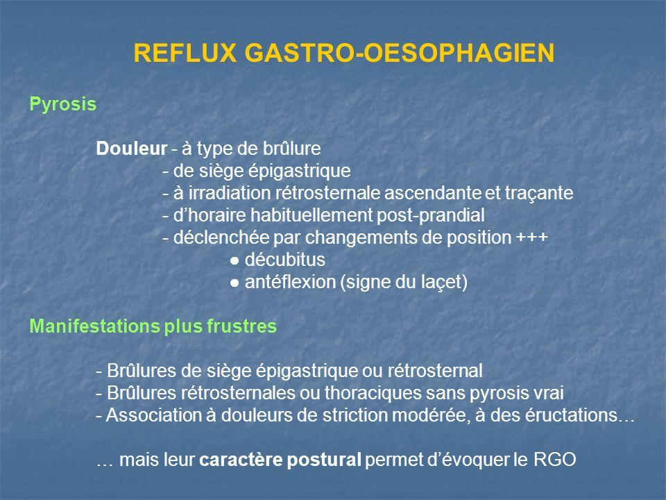 REFLUX GASTRO-OESOPHAGIEN Pyrosis Douleur - à type de brûlure - de siège épigastrique - à irradiation rétrosternale ascendante et traçante - dhoraire