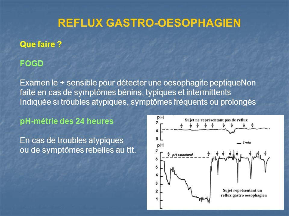 Que faire ? FOGD Examen le + sensible pour détecter une oesophagite peptiqueNon faite en cas de symptômes bénins, typiques et intermittents Indiquée s