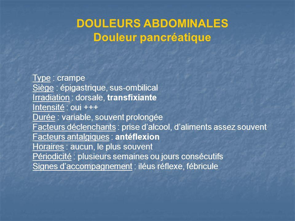Type : crampe Siège : épigastrique, sus-ombilical Irradiation : dorsale, transfixiante Intensité : oui +++ Durée : variable, souvent prolongée Facteur