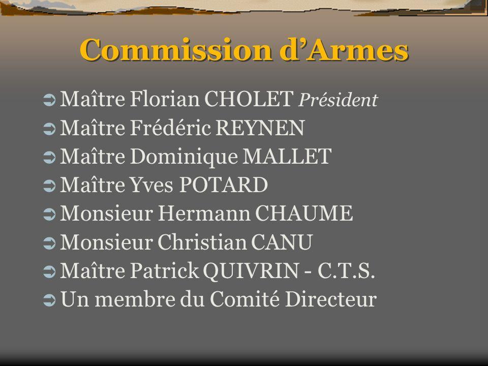 Commission dArmes Maître Florian CHOLET Président Maître Frédéric REYNEN Maître Dominique MALLET Maître Yves POTARD Monsieur Hermann CHAUME Monsieur C