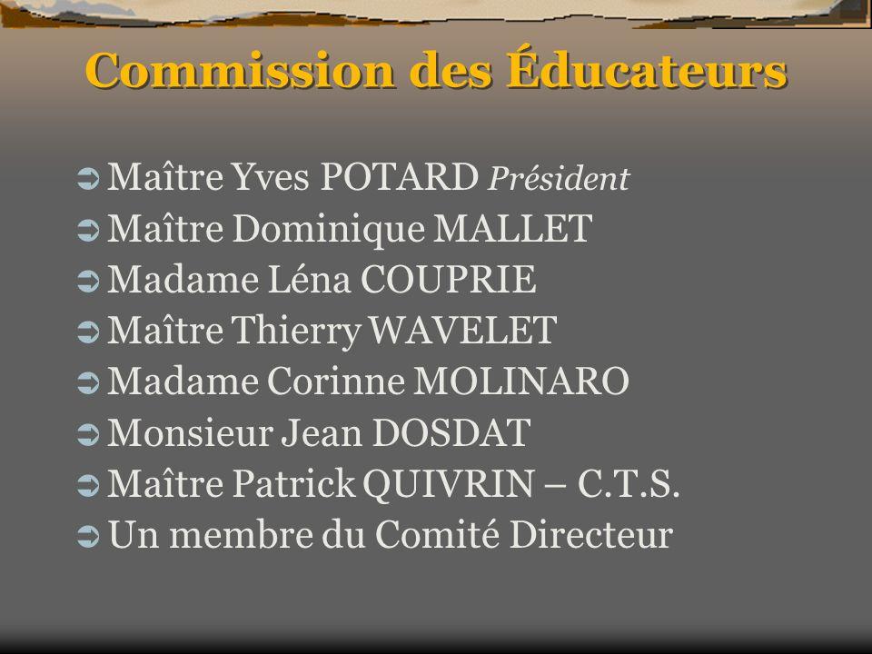 Commission des Éducateurs Maître Yves POTARD Président Maître Dominique MALLET Madame Léna COUPRIE Maître Thierry WAVELET Madame Corinne MOLINARO Mons