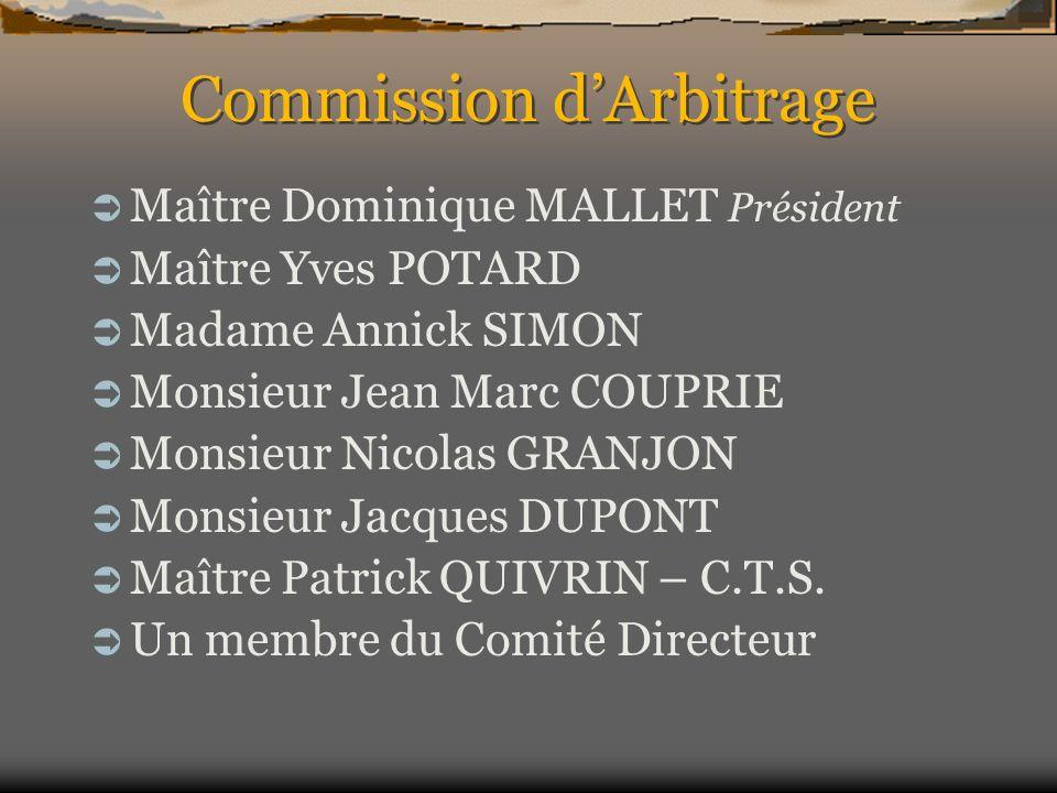 Commission dArbitrage Maître Dominique MALLET Président Maître Yves POTARD Madame Annick SIMON Monsieur Jean Marc COUPRIE Monsieur Nicolas GRANJON Mon